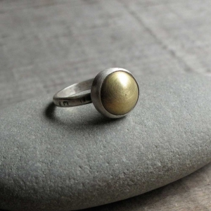 Sterling and Brass Dome Ring