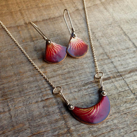 Enameled Earrings with Gold Luster by Karin Bremer
