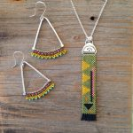 Woven Beadwork Necklace and Earrings by Karin Bremer