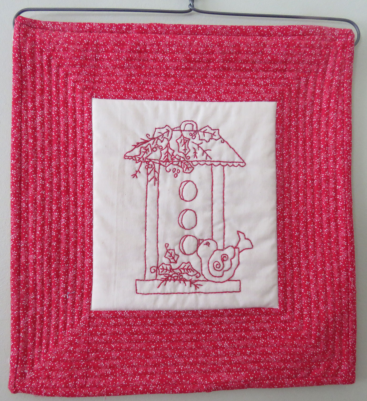 Redwork Birdhouse by Patricia Gumo