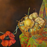 Basket of Pears with Red Poppies by Judith Lamb