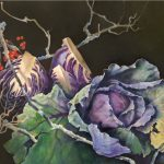 Purple Cabbage with Red Berries by Judith Lamb