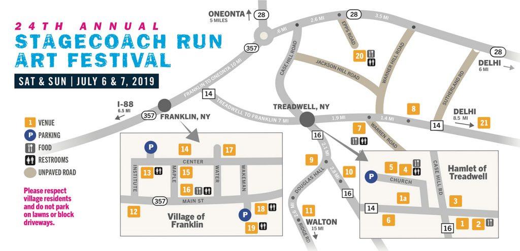 Stagecoach Run Art Festival map 2019