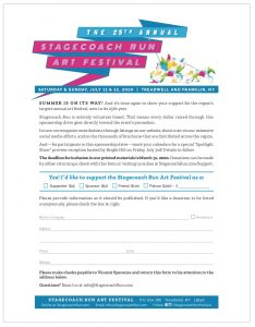 Support the Stagecoach Run Art Festival